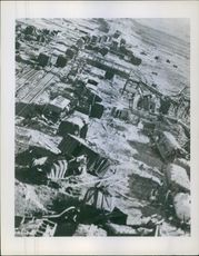 Korean War 1950-53 Destructed trailers and track after bombardment.