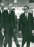 NATO Secretary General Manlio Brosio and Henry Kissinger at NATO Headquarters in Brussels