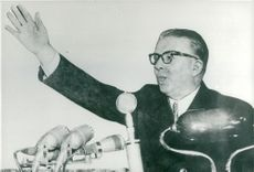 Enver Hoxha speaks at a party congress