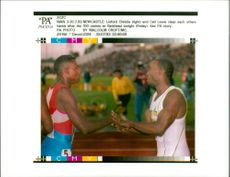 Linford Christie with Carl Lewis.