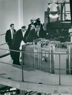 The King and Prime Minister Tage Erlander visits the Atomic Energy Research Reactor R2 in Studsvik