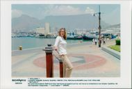 German tennis player Steffi Graf in South Africa, Cape Town in the background