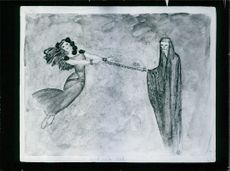 An illustration of women, being pulled by a ghost. 1979