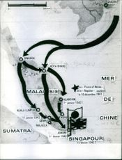 An map of Southeast Asia conquered by British and Japan during WWII.