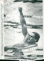 Pär Arvidsson after the gain of 100m butterfly during the 1980s