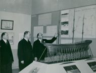 Intendent Gerhard Albe shows a ship model at the Maritime Museum