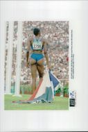 Marie Jose Perec after 400m win during the Olympic Games in Atlanta 1996