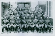 """Soldiers gathered together for a group photograph.  """"Boer War"""""""
