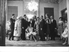 Princess Ashraf Pahlavi in a group photo on her wedding day.