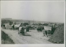 View of vehicles gathered in road side during first world war.