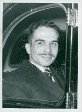 King Hussein of Jordan on his way to the Royal Aero Club meeting