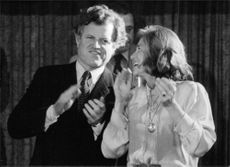 Edward Kennedy with his sister Eunice Shriver clapping.