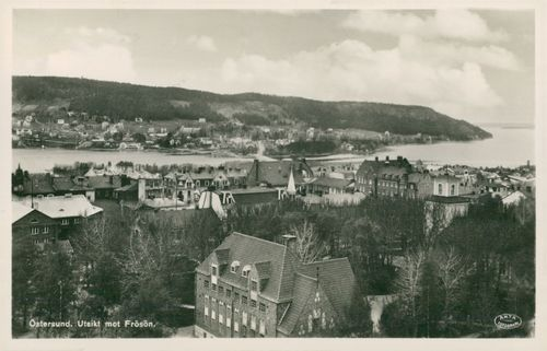 Ostersund. View of Frösön - Postcard black and white