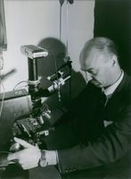 Gaston Naessens looking at the microscope. 1964.