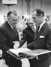Gustaf Winqvist, Prince Bertil and Åke Winqvist at the inauguration of AB Galcos new industrial buildings in Lidingö.