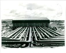 Main fuel supply depot showing pump house pipework.