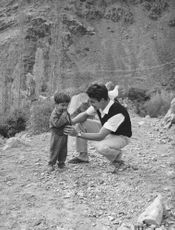 Jacques Charrier with his son.