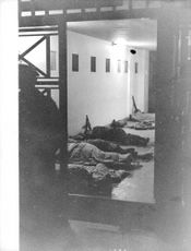 Soldiers sleeping in the hall during Algerian War, 1961.