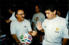 Diego Maradona does not want to write an autograph for a fan at the Sheraton Park Central hotel