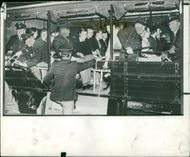 Munch Germany:Youths sitting in a riot squad lorry.