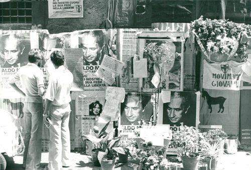 The street where Aldo Moro was found dead has become something of a cool place where people leave flowers etc