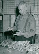 K J Erikson's knife factory in Mora. Manufacturer K J Erikson controls the edge of a Morak knife