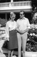 Prince Albert and Princess Paola of Belgium outside Hotel Formentor in Majorca at their silver wedding