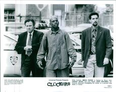 "Mekhi Phifer, Harvey Keitel, and John Turturro in a scene from the film, ""Clockers""."