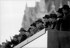 Soviet politicians gathered at the Lenin Mausoleum during the parade of the Red Square where the 66th anniversary of the Bolshevik Revolution was celebrated.