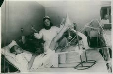 A Russian soldier in the hospital having his treatment during the war, Russia in 1943.