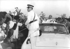 Pope Paul VI giving public appearance to the people.