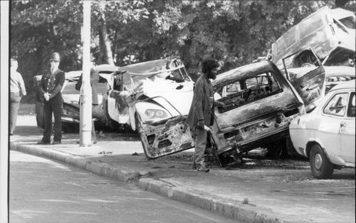Burned cars after a riot