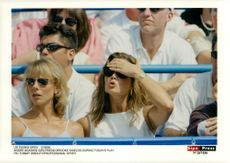Actress Brooke Shields takes his forehead under Andre Agassi's match at the US Tennis Open