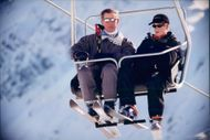 Prince Charles together with Prince Harry in the ski slope