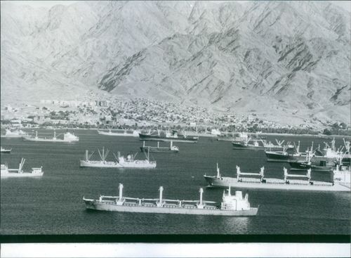 The Jordanian Red Sea port of Aqaba, crowded with heavy shipping, 1981.