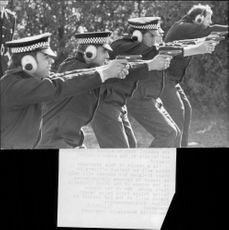 English police on shooting training