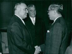 U.N. Third secretary general U Thant is being greeted by the President & Prime Minister Of Rumania when he was acting Secretary of UN.