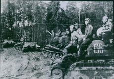 WW2. Eastern Front. Red Army troops mounted on the tanks as they advance toward the Baltic sea. 1944.