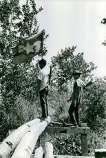 Two armed men standing on a bridge made of coconut tree, with a flag, in Vietnam, February 11, 1973.