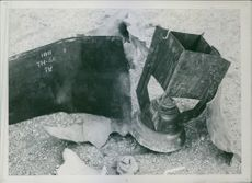 """Part of a so-called """"Molotov brodkorg"""", which was obtained after the bomb sheet in Sweden during World War II, 1942."""