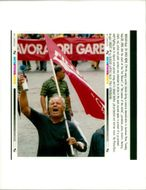 Italy Demonstrations: A angry worker.