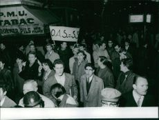 People in manifestation in Paris. Photo taken Feb. 12, 1962