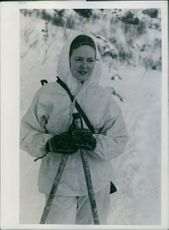 Norwegian combat 1945 The Raid on Soroy  Picture shows one of the women volunteers in the Norwegian War.