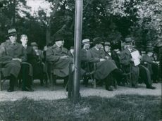 Gentlemen were sitting in a conference during wartime in Sweden. 1935.