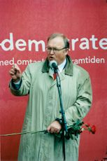 Prime Minister Göran Persson is elected at Hötorget in Stockholm