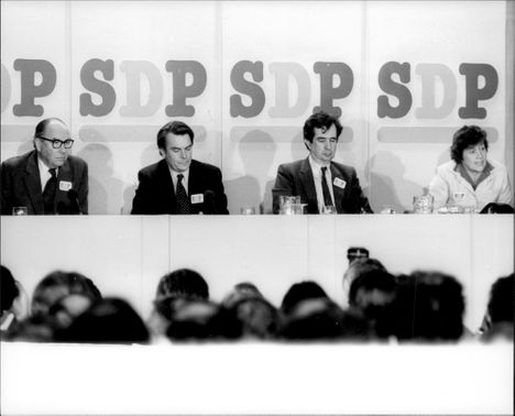 Roy Jenkins, Dr. David Owen, William Rodgers and Shirley Williams hold the first press conference for the new Social Democrats Party.