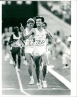 Sebastian Coe takes Olympic gold at 1,500 meters during the 1984 Olympic Games