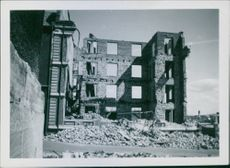 War damages in Norway after the German bombings. 1940