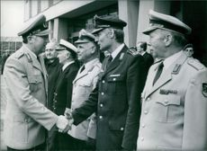 General Wolfgang Altenburg, General Inspector of the West German Army, greeting the service chiefs of the German Army.