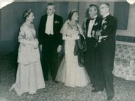 King Gustaf VI Adolf and Queen Louise together with English royals at Royal Naval College, Greenwich.